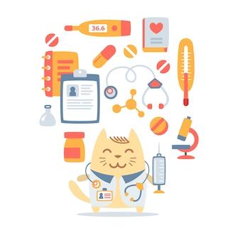 Charakter mężczyzna kot lekarz stetoskopem