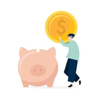 Charakter mężczyzna oszczędzania pieniądze w prosiątko banka ilustraci