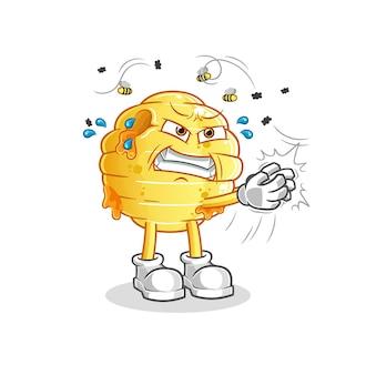 Charakter muchy o strukturze plastra miodu. kreskówka maskotka