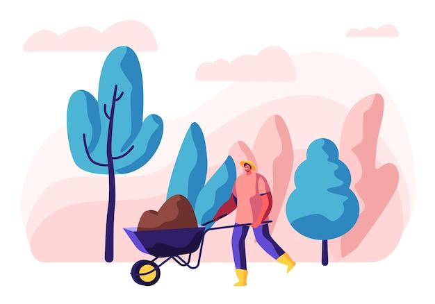 Charakter ogrodnik w pracy. człowiek w mundurze pracujący w ogrodzie drzewa i rośliny z narzędziami.