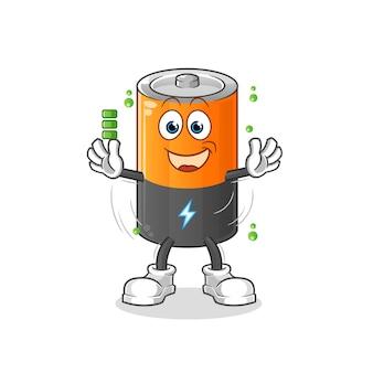 Charakter pełnego naładowania baterii. kreskówka maskotka