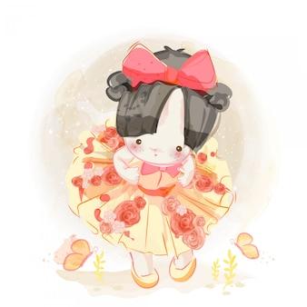 Charakter piękna dziewczyna w stylu przypominającym akwarele.