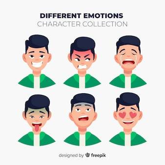 Charakter pokazujący kolekcję emocji