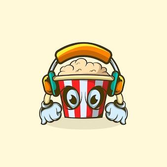 Charakter popcorn za pomocą słuchawek