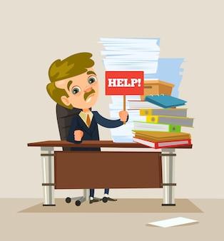Charakter pracownik biurowy mężczyzna ciężko pracuje