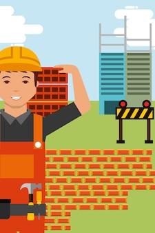 Charakter pracownik budowlany i ściana z cegieł
