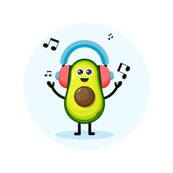 Charakter projektu zestawu słuchawkowego muzyki awokado ładny