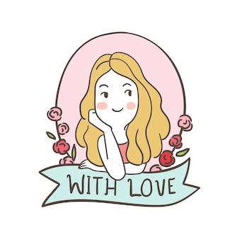 Charakter słodkie dziewczyny dla zakochanych