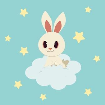 Charakter śliczny królik siedzi na białej chmurze jest na niebieskim niebie.