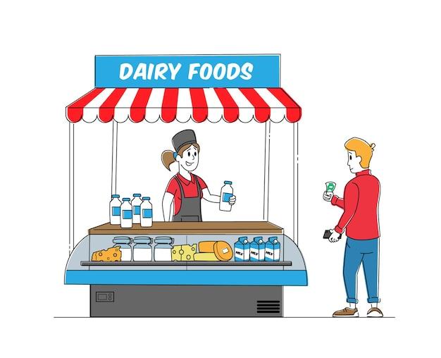 Charakter sprzedawczyni sprzedaje asortyment mleczarski w kiosku.