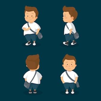 Charakter studenta w różnych pozycjach ilustracji