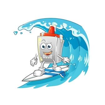 Charakter surfowania po kleju. kreskówka maskotka