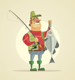 Charakter szczęśliwy rybak trzyma dużą rybę. ilustracja kreskówka płaski wektor