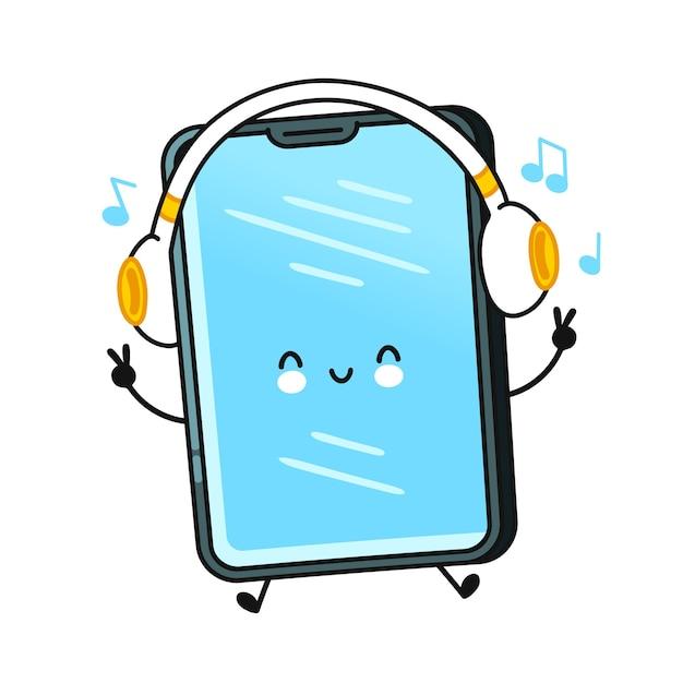 Charakter telefonu komórkowego słuchać muzyki na białym tle