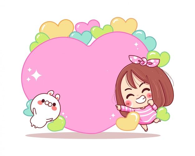 Charakter uśmiechniętej dziewczynki i białego królika z pustą ramką w kształcie serca na białym tle.