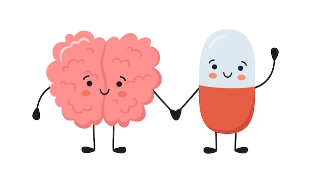 Charakter zdrowego mózgu i szczęśliwe uśmiechnięte postacie pigułki medycyny trzymają się za ręce. kapsułka kawaii i słodkie postacie mózgu. terapia lekami. ilustracja wektorowa na białym tle na białym tle.