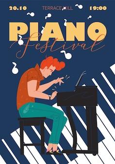 Charakter zespołu muzycznego, jazz, rock, blues stylowy baner plakat koncepcja internetowa online.