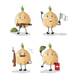 Charakter żołnierzy czosnku. kreskówka maskotka
