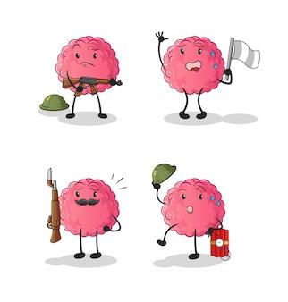 Charakter żołnierzy mózgów. kreskówka maskotka