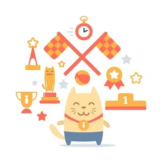Charakter zwycięzca kot mężczyzna z medalem
