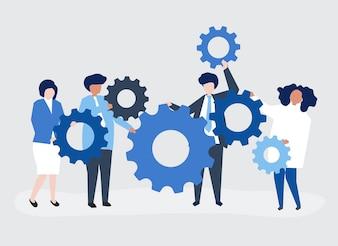 Charaktery ludzie biznesu trzyma cogwheels ilustracyjnych
