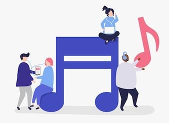 Charaktery ludzie słucha muzyczna ilustracja