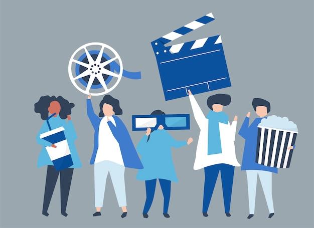 Charaktery ludzie trzyma film ikony ilustracyjne