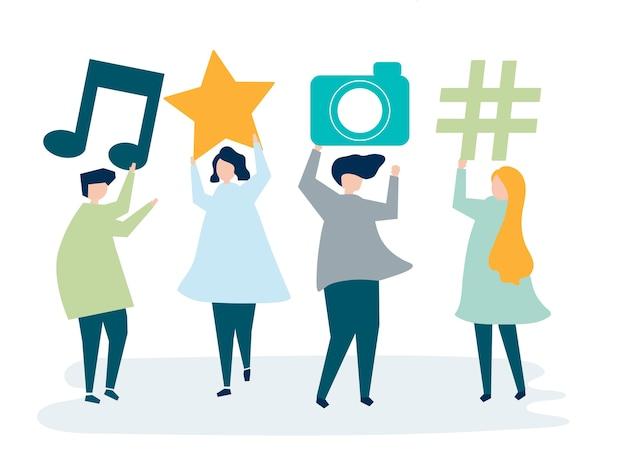 Charaktery ludzie trzyma ogólnospołeczne medialne ikony ilustracyjne