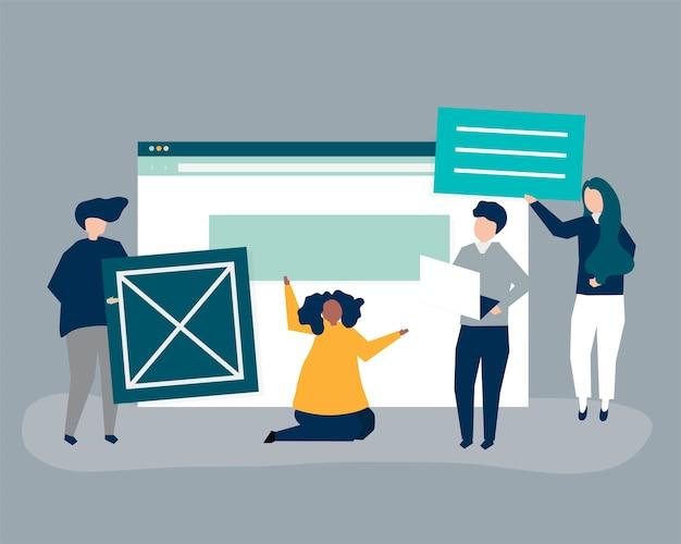 Charaktery ludzie trzyma stron internetowych ikony ilustracyjne