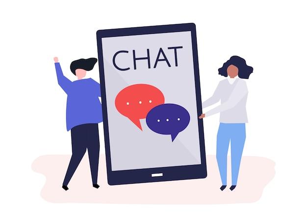 Charaktery para i texting pojęcie ilustracja