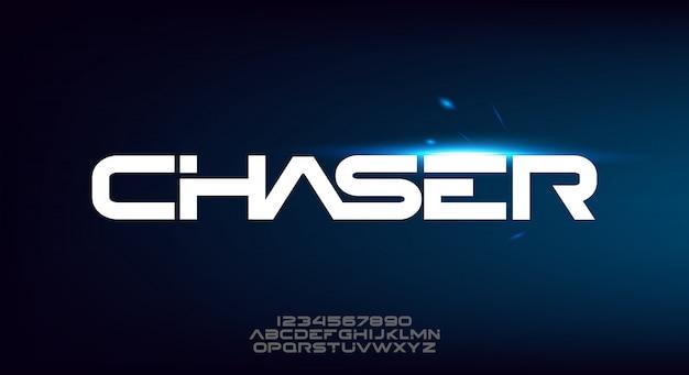 Chaser, abstrakcyjna, nowoczesna, minimalistyczna, geometryczna, futurystyczna czcionka alfabetu.