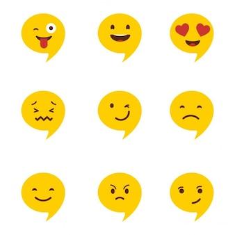 Chat emotikony zestaw ilustracji
