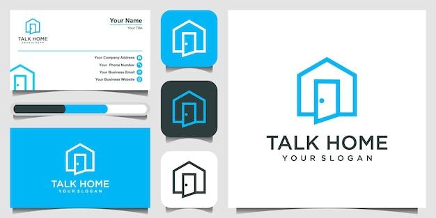 Chat talking home logo design inspiracja.