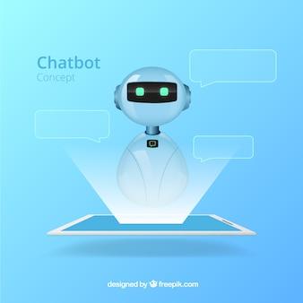 Chatbot koncepcja tło w realistyczny styl