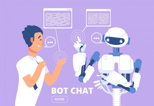 Chatbot. mężczyzna na czacie z botem czatu. ilustracja usługi obsługi klienta