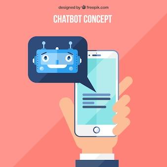 Chatbot pojęcia tło z urządzeniem przenośnym