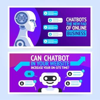 Chatbot poziomy biznes szablon transparent