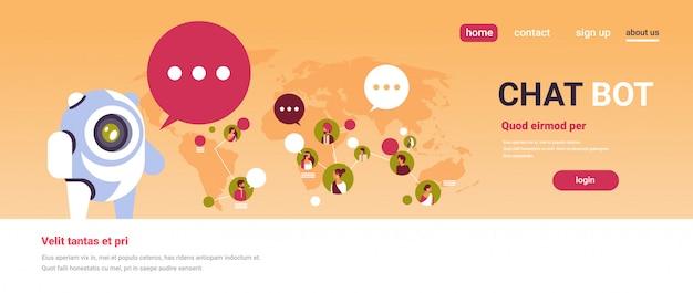 Chatbot robot mowa bąbelek indyjski ludzie awatar globalny komunikacja transparent