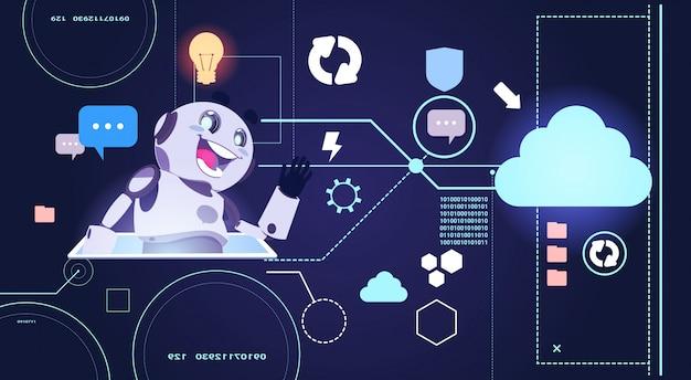 Chatbot robot technology, chatterbot korzystanie z wirtualnej pomocy cyfrowego tabletu