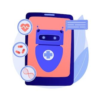 Chatbot w ilustracji abstrakcyjnej koncepcji opieki zdrowotnej