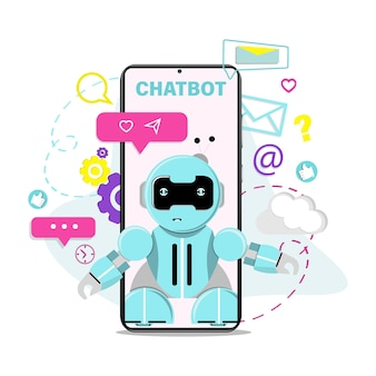 Chatbot wirtualny asystent robota płaska ilustracja wektorowa
