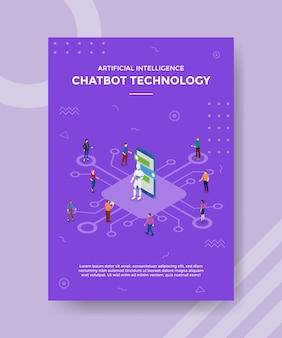 Chatbot z robotem i ludźmi komunikuje koncepcję banera szablonu i ulotki z wektorem w stylu izometrycznym