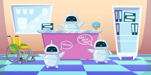 Chatboty z kreskówek pracują zamiast ludzi. płaska ilustracja. nowoczesne boty jako pomocnik lub asystent w szpitalu lub innej organizacji ludzkiej
