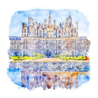 Chateau de chambord francja szkic akwarela ręcznie rysowane ilustracji