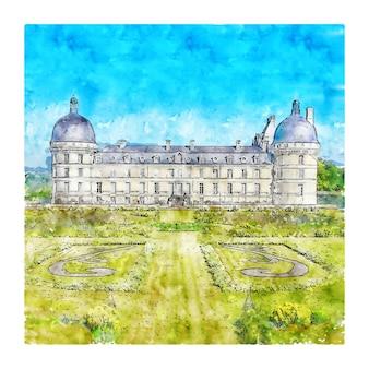 Chateau de valencay francja szkic akwarela ręcznie rysowane ilustracji