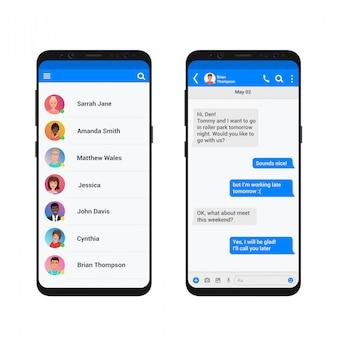 Chating i wiadomości ilustracja koncepcja. komunikator społecznościowy nowoczesny smartfon.