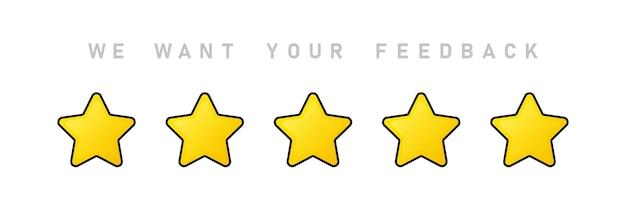 Chcemy, aby twoja opinia była ilustracją. dając pięć gwiazdek. przejrzeć. koncepcja pozytywnej opinii.