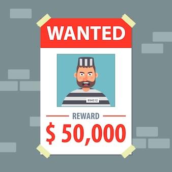 Chciał ulotki. szukaj bandyty. płaska ilustracja.