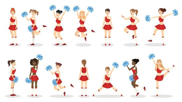 Cheerleaderka w czerwonym mundurze. piękna dziewczyna