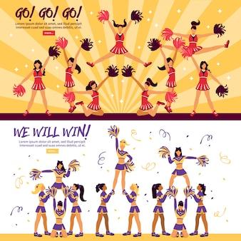 Cheerleaders team flat banners